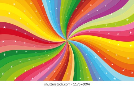abstract rainbow stripe with stars