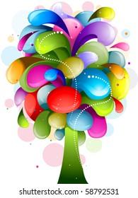 Abstract Rainbow Swirl Tree Design - Vector