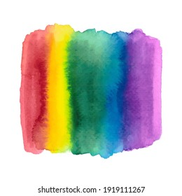 Abstract Rainbow Watercolor Brush Stripes Background. LGBT Rainbow Shades.
