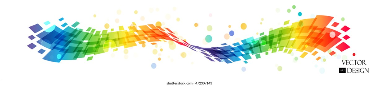 Abstract rainbow wave on white background, multicolored design element