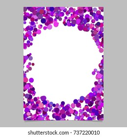 Abstract random dot design page template - trendy vector blank poster border graphic with purple toned circles on white background