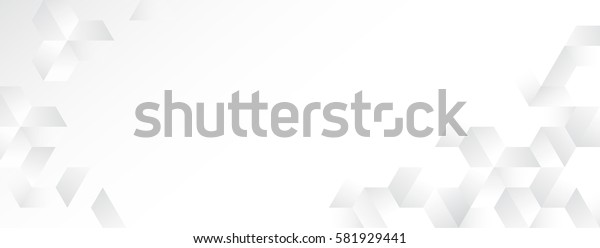Abstract random gray hexagon pattern on white banner background