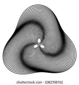 Abstract randomly generated circular stripes. Generative art.