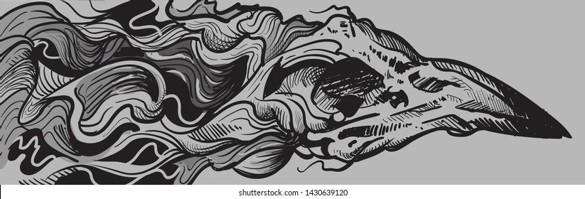 Abstract Raven skull with waves of lines in the form of smoke. Black and white sketch,abstract art.