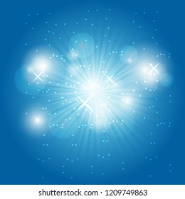 Abstract ray light on blue background, stock vector