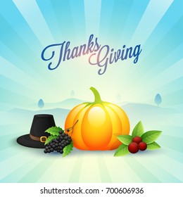 Abstract rays nature view background with glossy pumpkin, pilgrim hat and fruits for Thanksgiving Day celebration.