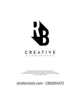 abstract RB logo letter in shadow shape design concept