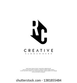 abstract RC logo letter in shadow shape design concept