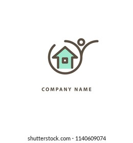 Abstract real estate agent logo icon vector design. Rent, sale of real estate vector logo, House cleaning, home security. Vector man and house logo concept.