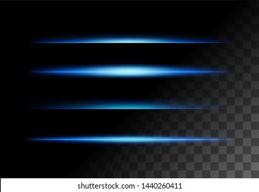 Abstract realistic lights lines effect on transparent background vector illustration. Good for overlays for any images.