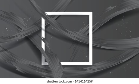 Abstract realistic tab of grey stripes with shadow on dark grey background. White frame at center. Size ratio 1920x1080 px. EPS10, vector and illustration.