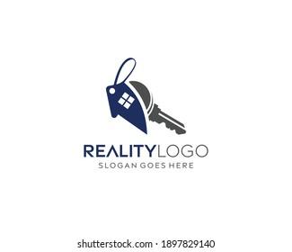 Abstract reality home logo design, key logo design, home sell, home buy, reality buy vector logo design