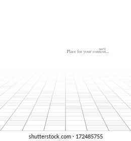 Abstract rectangle background. Perspective tiled floor. Vector illustration.