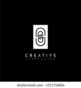 abstract rectangle QQ logo letter with circle shape inside design concept