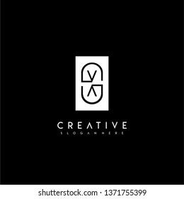 abstract rectangle VV logo letter with circle shape inside design concept