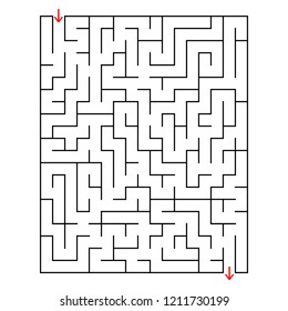 Abstract rectangular labyrinth. An interesting and useful game for children. With the entrance and exit. Simple flat vector illustration isolated on white background