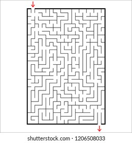 Abstract rectangular maze. Game for kids. Puzzle for children. One entrances, one exit. Labyrinth conundrum. Simple flat vector illustration isolated on white background.
