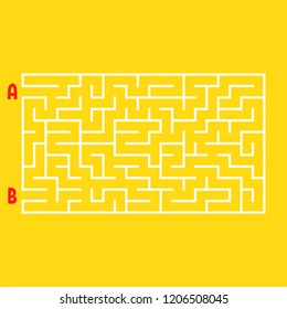 Abstract rectangular maze. Game for kids. Puzzle for children. One entrance, one exit. Labyrinth conundrum. Flat vector illustration isolated on white background.