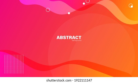 Abstract red ang orange fluid shape modern background with copy space, vector.