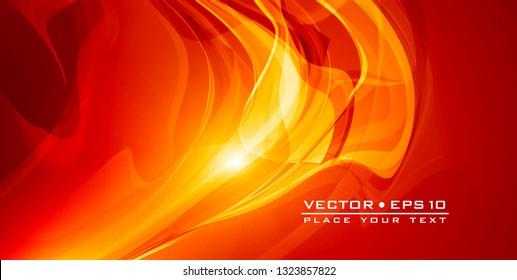 Abstrakter roter, glänzender Hintergrund mit Lichteffekt. Futuristisches Design-Layout für Präsentationen, Poster, Flyer, Banner. Vektorgrafik