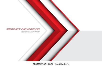 Abstract red arrow direction on white grey design modern futuristic background vector illustration.