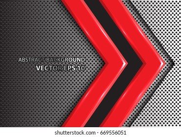 Abstract red arrow on metal circle mesh design modern futuristic creative background texture vector illustration.