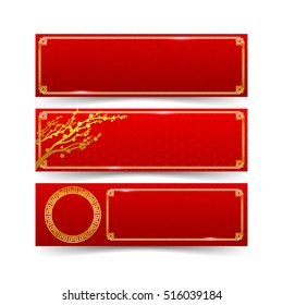 Abstract red banner background and gold border with modern art chinese style isolated on the white background vector illustration