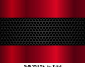 Abstract red and black background with hexagons. Vector illustration