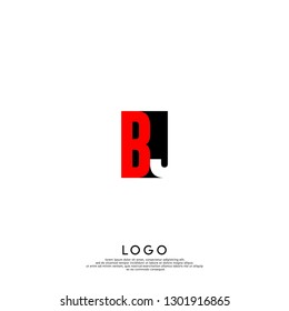 abstract red and black BJ logo letters design concept in shadow shape