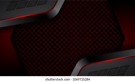 Abstract red black modern futuristic background vector illustration.