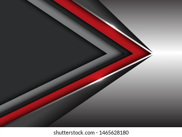 Abstract red black speed direction on silver with dark grey blank space design modern futuristic background vector illustration.