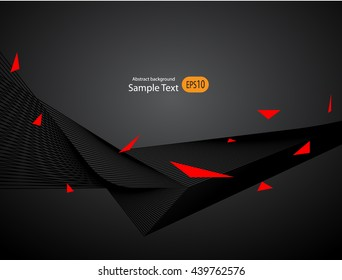 Abstract red black sport background, waves