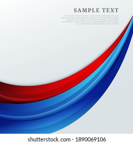 Abstract red and blue curves shape on white background. You can use for ad, poster, template, business presentation. Vector illustration