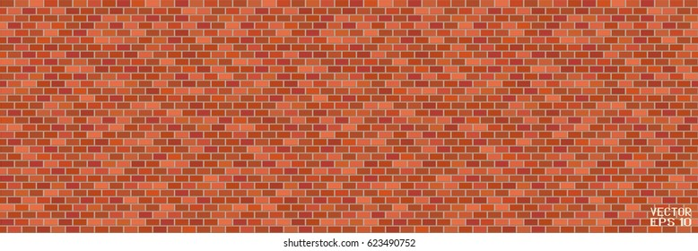 Abstract Red and Brown Structural Brick Wall. Panoramic Solid Surface. Vector Illustration
