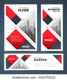 Abstract red color stripes theme Set flyer cover, banner, roll up banner