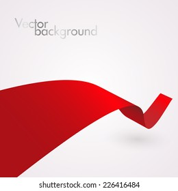 Abstract red curved ribbon