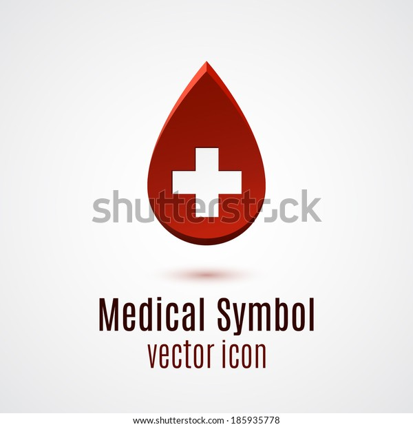Abstract red drop, medical symbol. Vector illustration