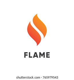 Abstract red flame fire logo design.