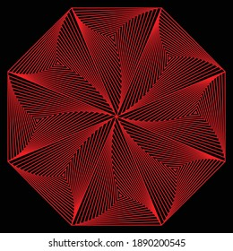 Abstract red flower pattern from spiral of triangle in octagon based with dark background.