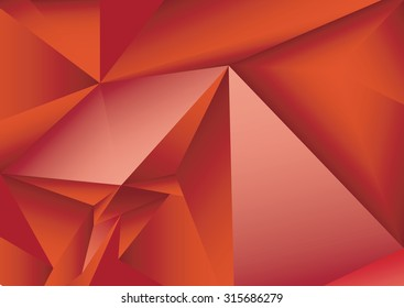 Abstract red geometric background. Polygonal vector background.  Futuristic HUD background.Techno. 3d ruby texture.