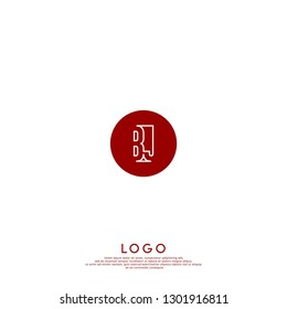 abstract red geometric elegant circle lines BJ logo letters design concept in shadow shape