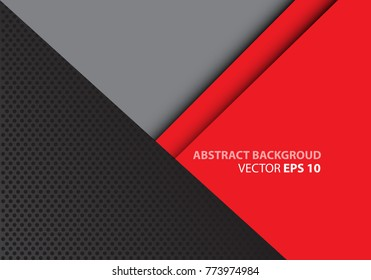 Abstract red gray triangle on dark circle mesh design modern futuristic background vector illustration.