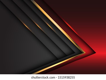 Abstract red grey gold arrow metallic direction luxury overlap design modern futuristic background vector illustration.