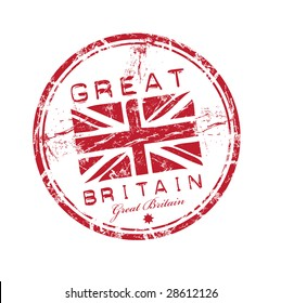 Abstract red grunge rubber stamp with the name of Great Britain written inside the stamp