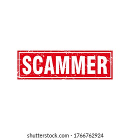 Abstract Red Grunge Scammer Rubber Stamps Sign Vector, Rectangle Scammer Warning Seal, Mark, Label Design Template