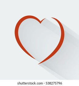 Abstract red heart Flat style