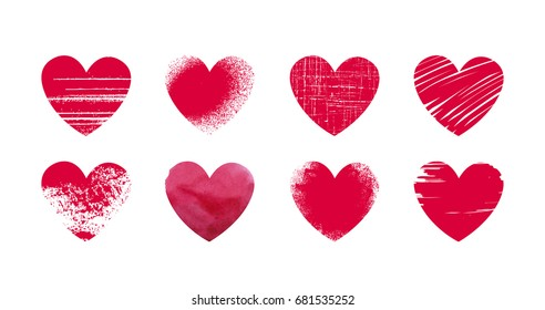 Abstract red heart, grunge. Set icons or logos on theme of love, wedding, health, Valentine's day. Vector illustration