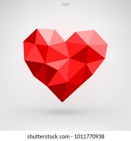 Abstract red heart symbol for Valentine's Day. Heart shape for decorative card, website, template design, postcard, special offer sale, advertising, mobile application. Vector illustration.