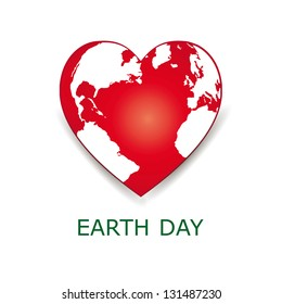 Abstract red heart together with green earth.