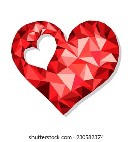 Abstract red heart Valentine's Day from shards of glass
